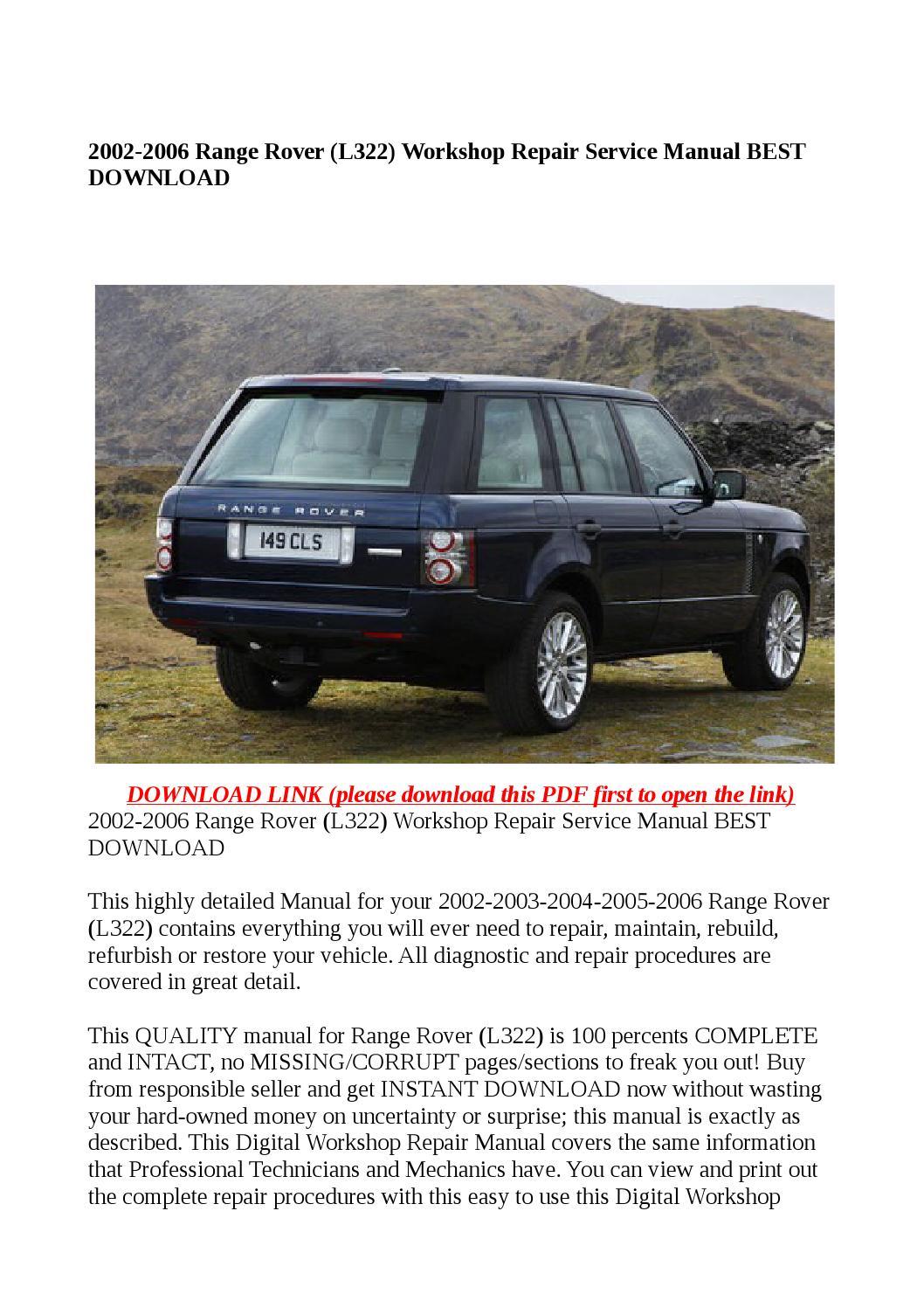 2002 2006 Range Rover L322 Workshop Repair Service Manual Guide