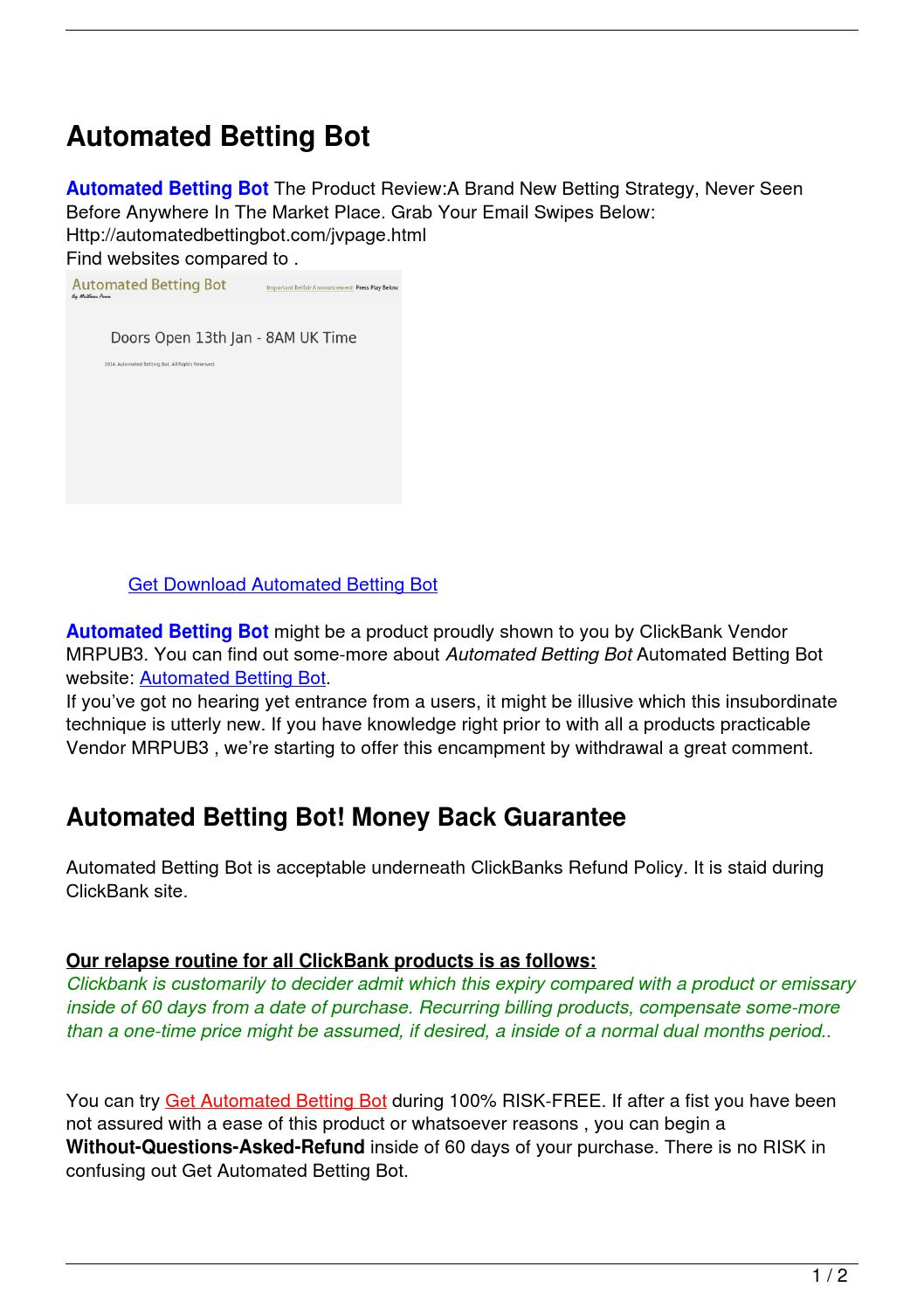 Betting bots reviews is binary options trading legal in the us