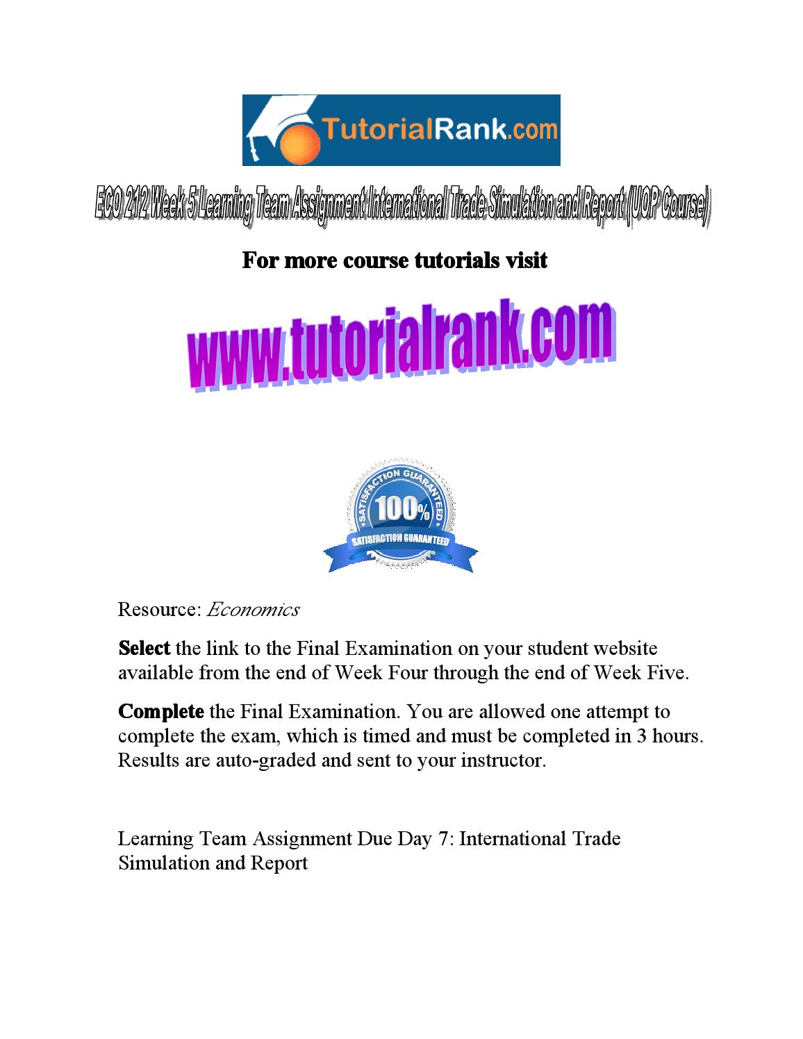 Eco 212 week 5 learning team assignment international trade