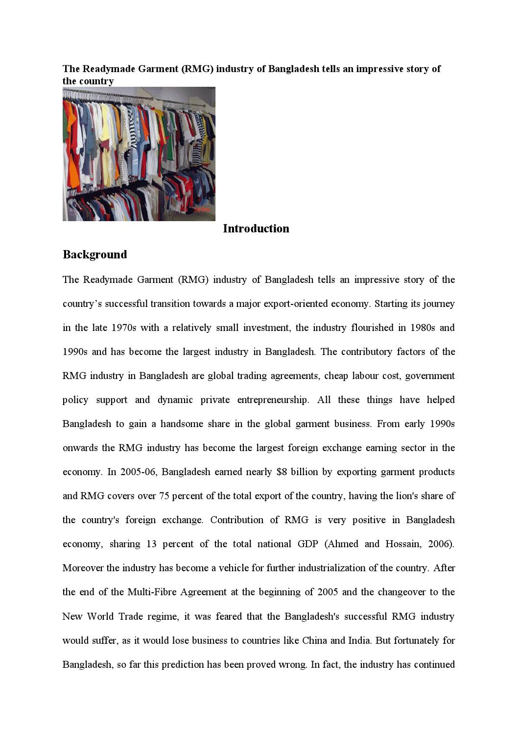 The Readymade Garment Rmg Industry Of Bangladesh Tells An