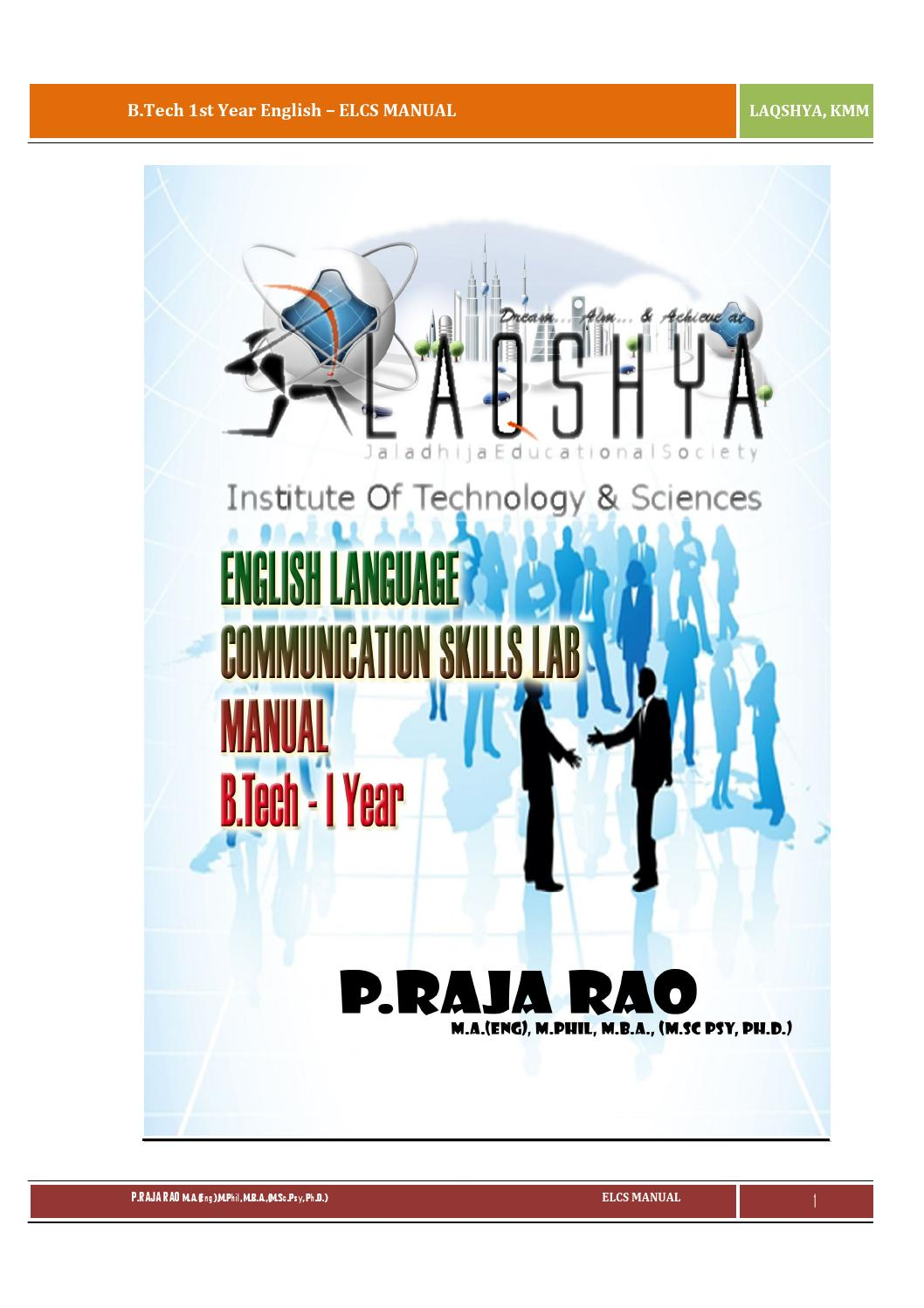 English Language Communication Skills Lab Manual Elcs By Raja Rao Pagidipalli By Raja Ramesh Issuu Listen to music from chronemics like bats, falling down & more. issuu