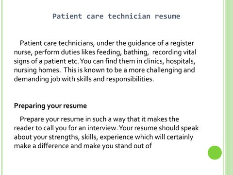 resume for patient care technician