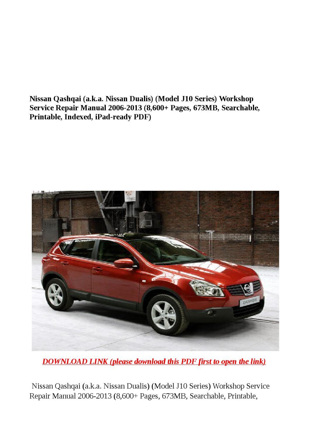 nissan qashqai 2009 owners manual pdf