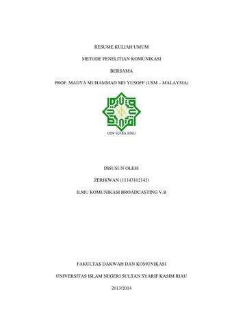 Resume Kuliah Umum Metode Penelitian Komunikasi Bersama Prof