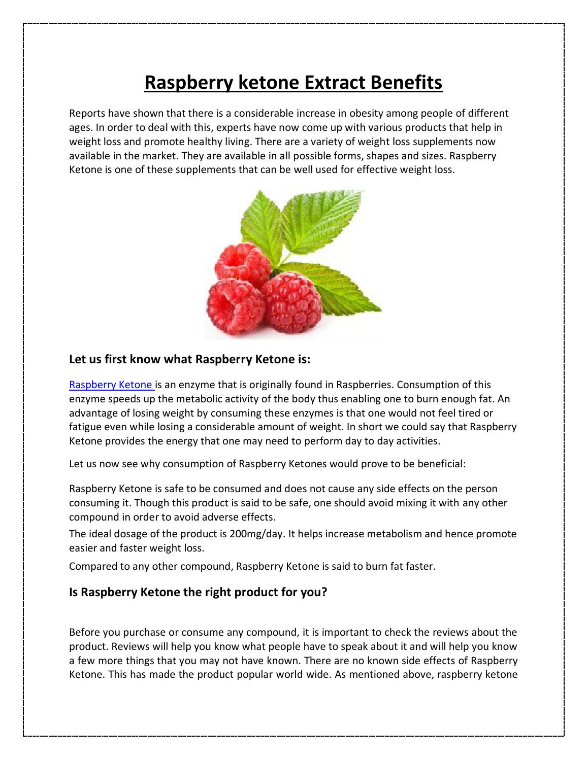 Raspberry Ketone Extract Benefits By James Hundson Issuu