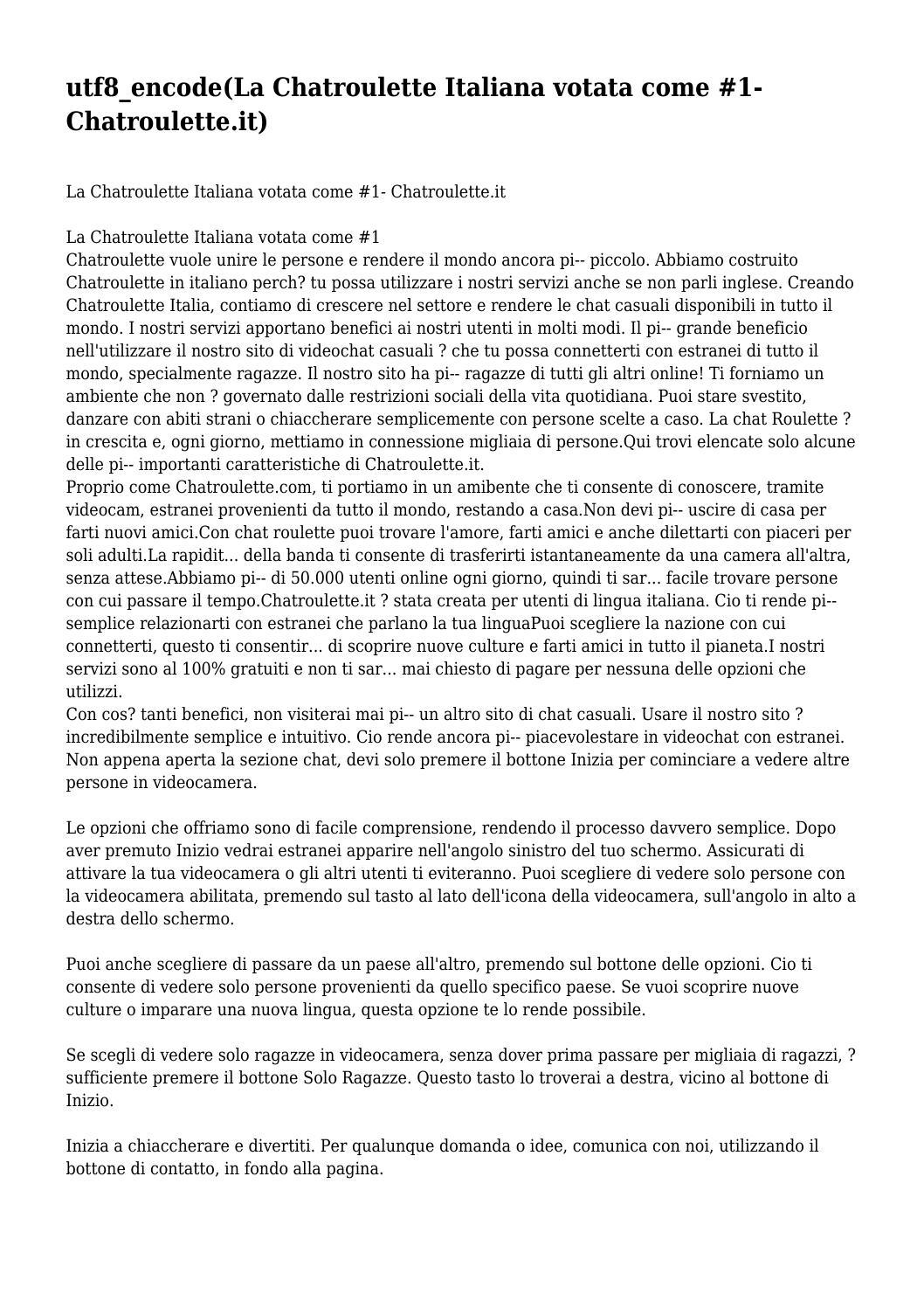 contatti con donne italian chatroulette