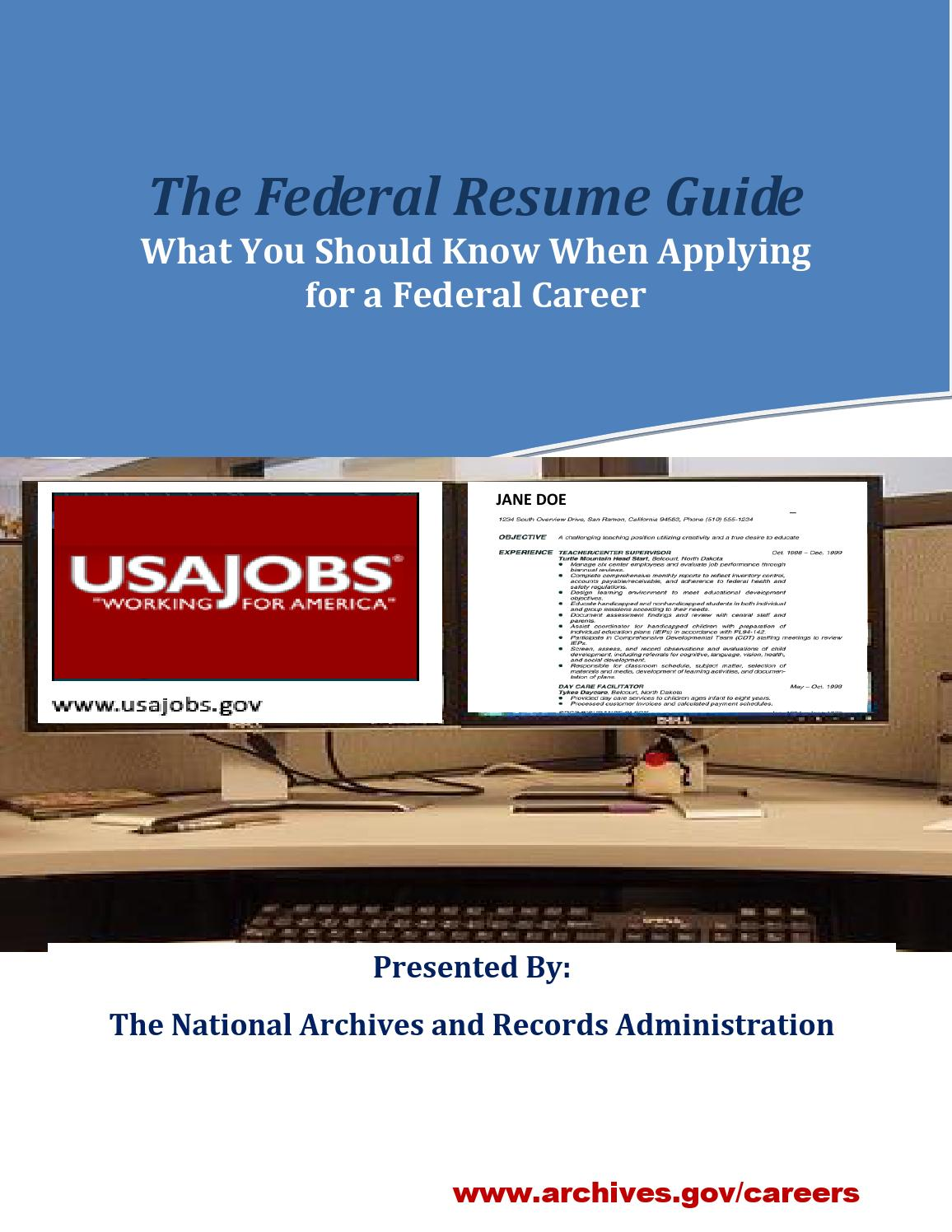 Federal resume guide by Meredith College Academic