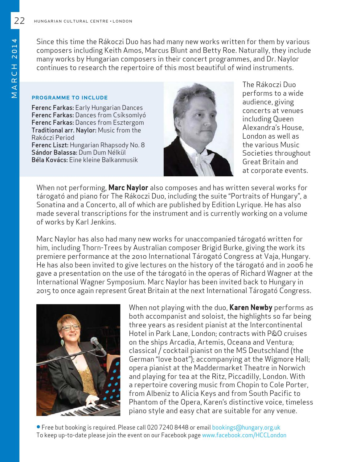 Hungarian Cultural Centre - Programme Brochure Jan-Mar 2014 by HCC London -  issuu