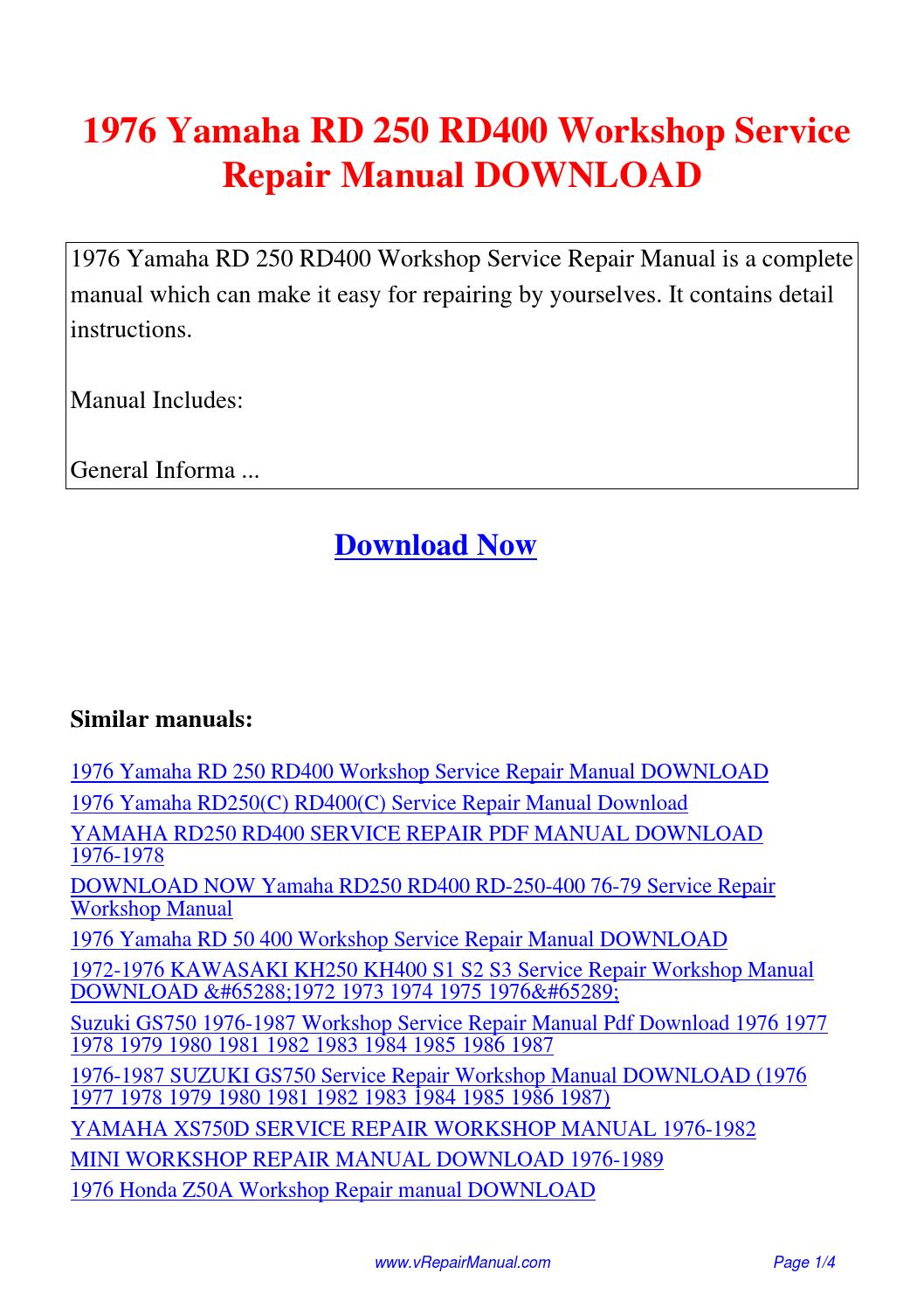 1976 Yamaha RD 250 RD400 Workshop Service Repair Manual.pdf by David Zhang  - issuu