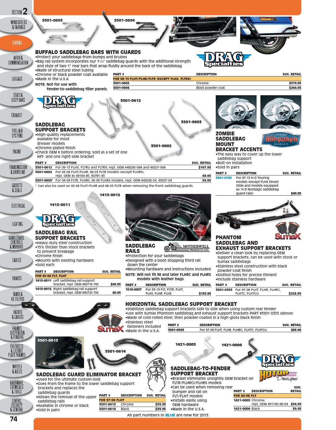 Automotive Drag Specialties 1421-0005 Saddlebag-To-Fender Support Bracket Chrome
