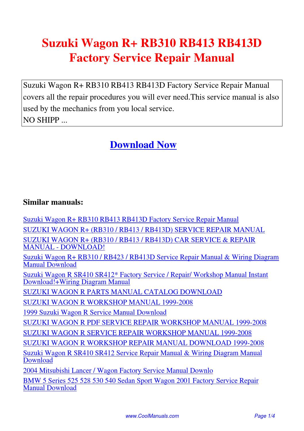 Suzuki Wagon R RB310 RB413 RB413D Factory Service Repair Manual.pdf by  Guang Hui - issuu