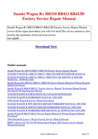 Suzuki    Wagon       R    RB310 RB413 RB413D Factory Service Repair Manualpdf by Guang Hui  Issuu