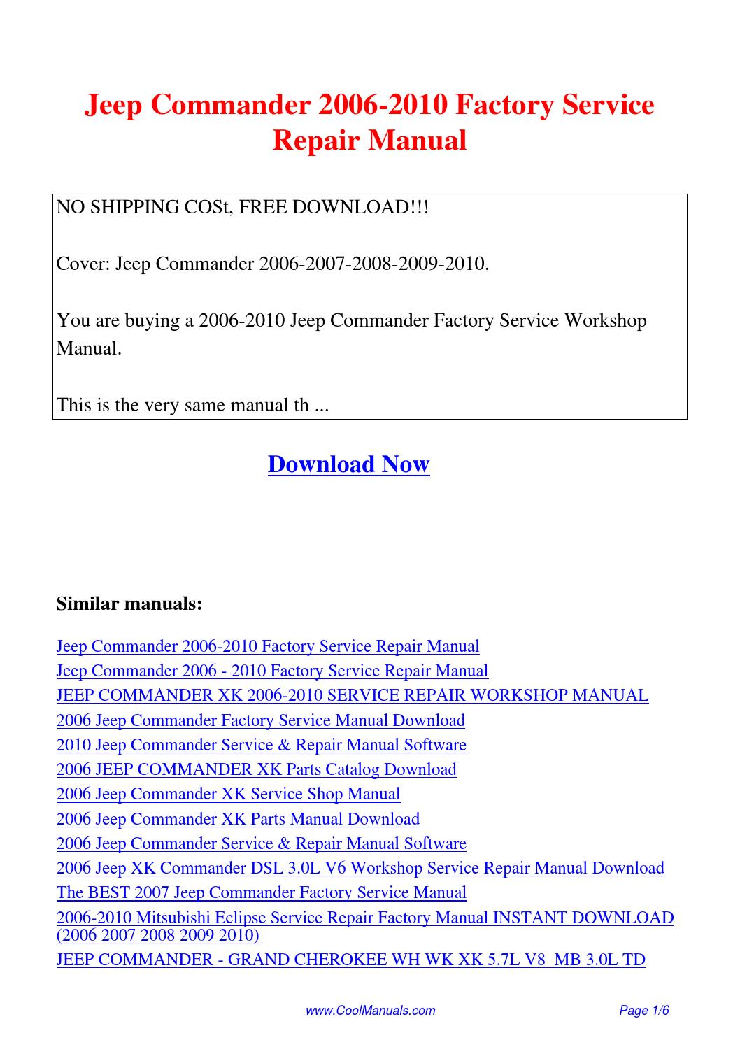 Jeep Commander 2006-2010 Factory Service Repair Manual.pdf by Guang Hui -  issuu