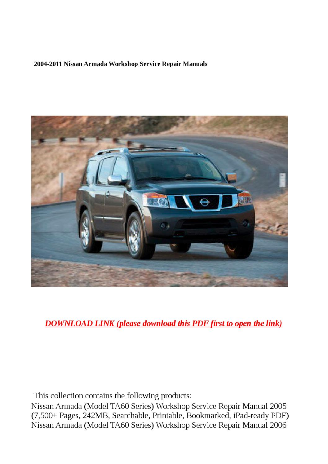 2004 2011 nissan armada workshop service repair manuals by. Black Bedroom Furniture Sets. Home Design Ideas