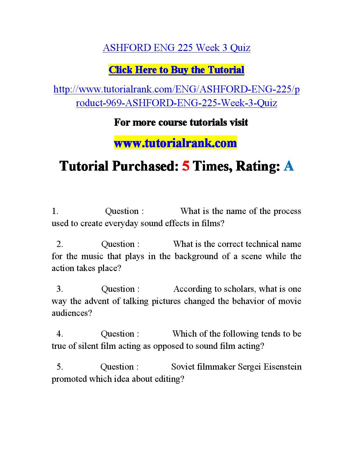 ENG 225 ENG225 Week 4 Quiz