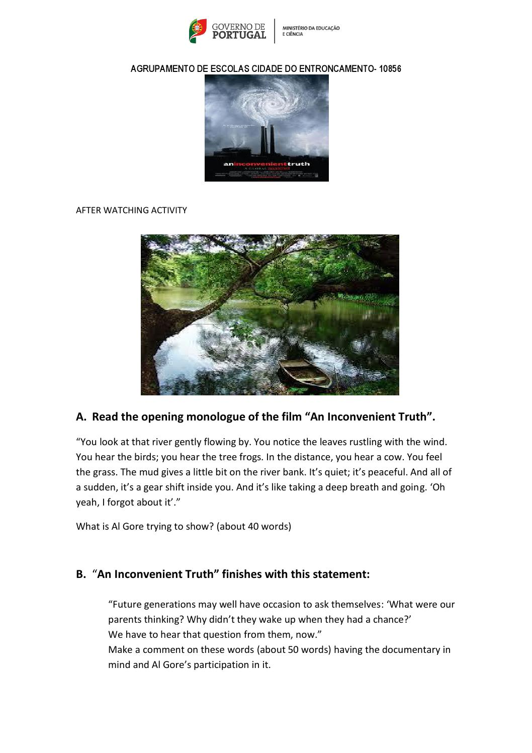 An inconvenient truth worksheet 2 by Em lia Bastos issuu – Inconvenient Truth Worksheet