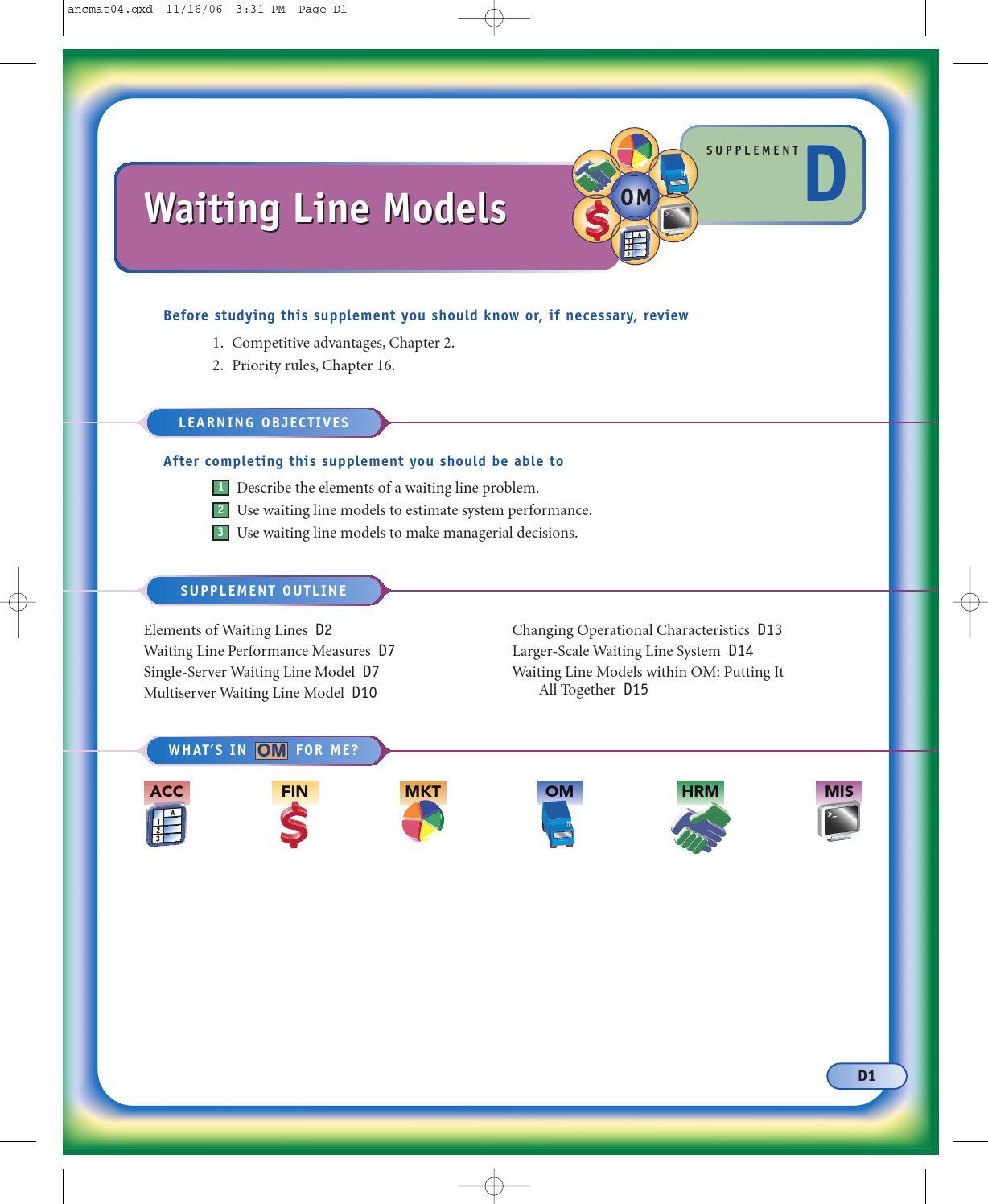 explain the single-server and multi-server waiting line models