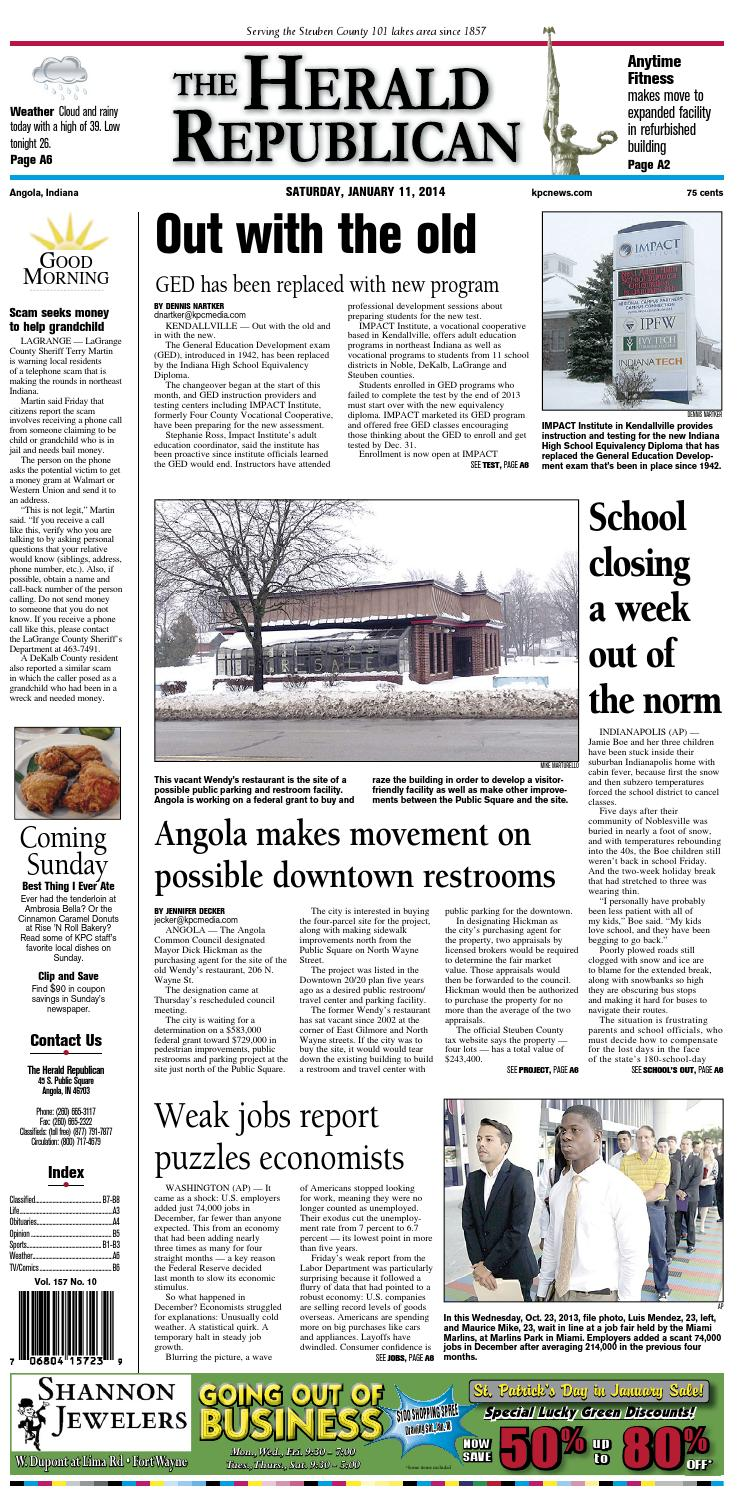 The Herald Republican – January 11, 2014