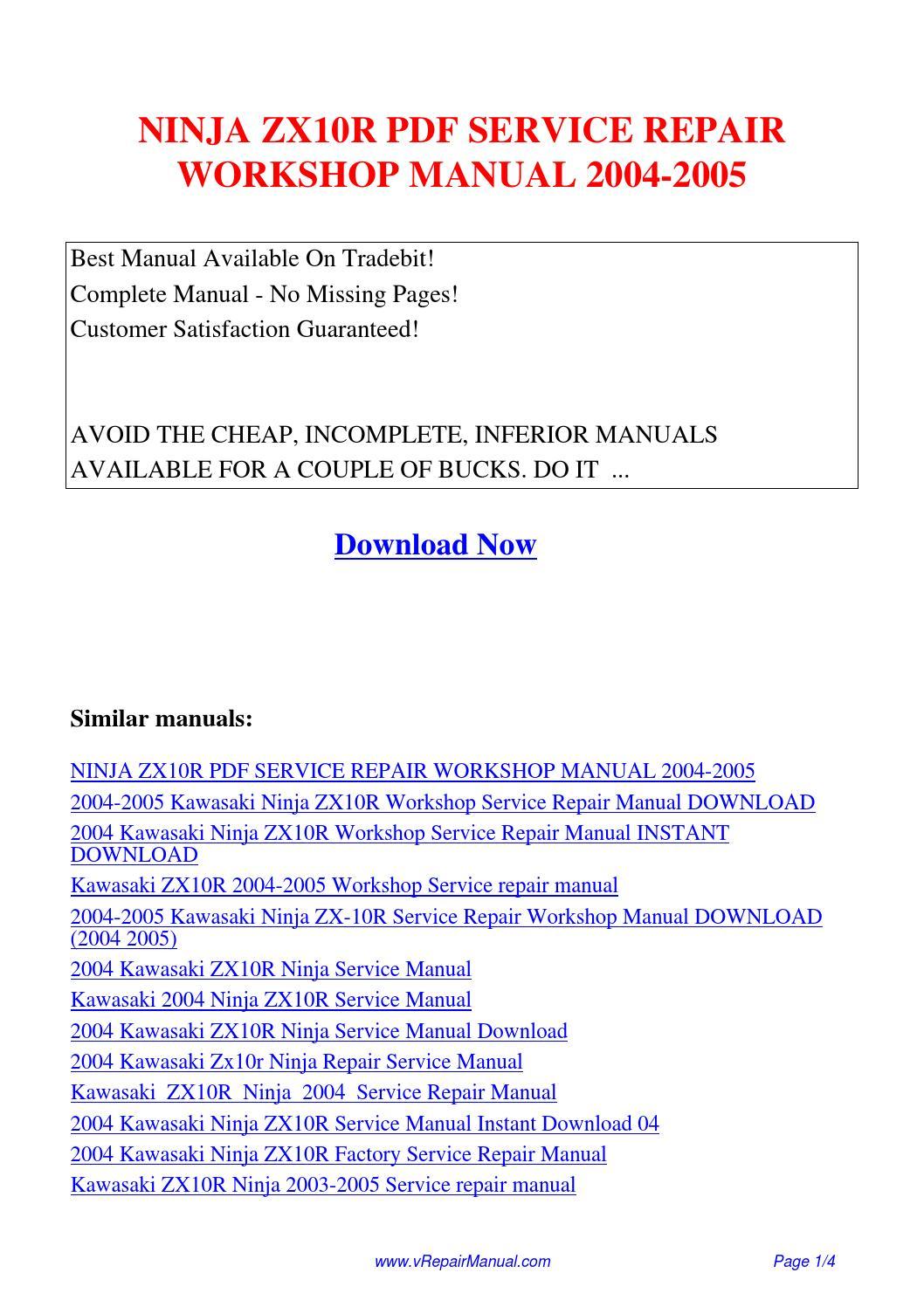 NINJA ZX10R SERVICE REPAIR WORKSHOP MANUAL 2004-2005.pdf by David Zhang -  issuu