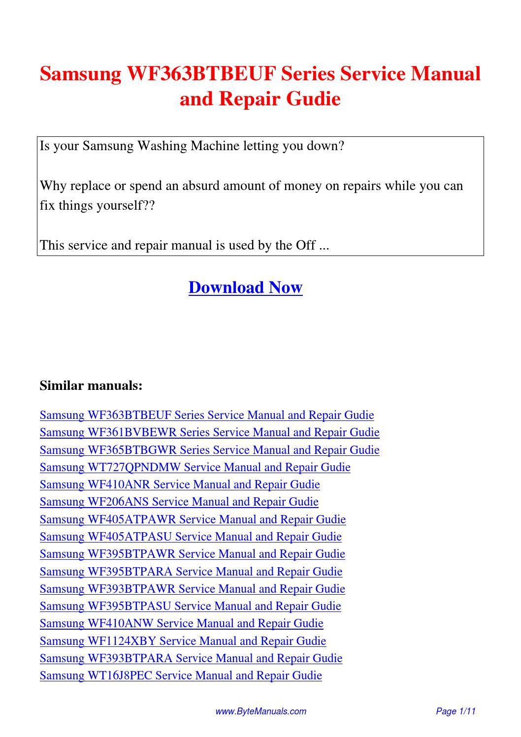 Samsung WF363BTBEUF Series Service Manual and Repair Gudie.pdf by Kong Hong  - issuu