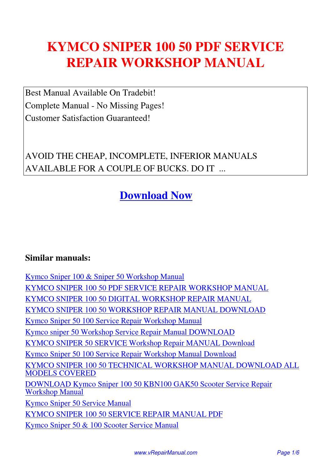 KYMCO SNIPER 100 50 SERVICE REPAIR WORKSHOP MANUAL.pdf by David Zhang -  issuu