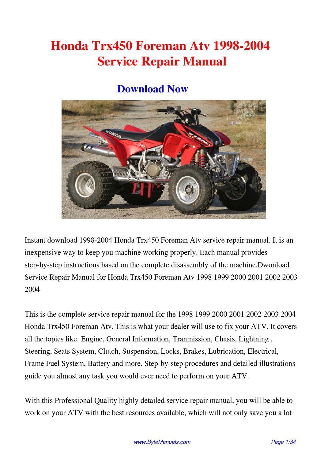 2003 2004 2005 honda trx650 rincon atv service manual.