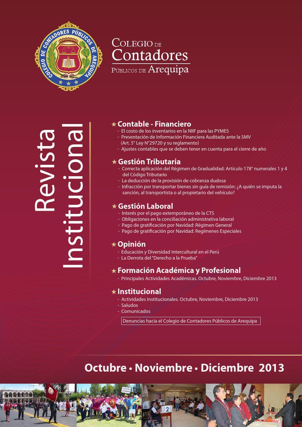 Octubre, Noviembre y Diciembre 2013 by Colegio de Contadores ...