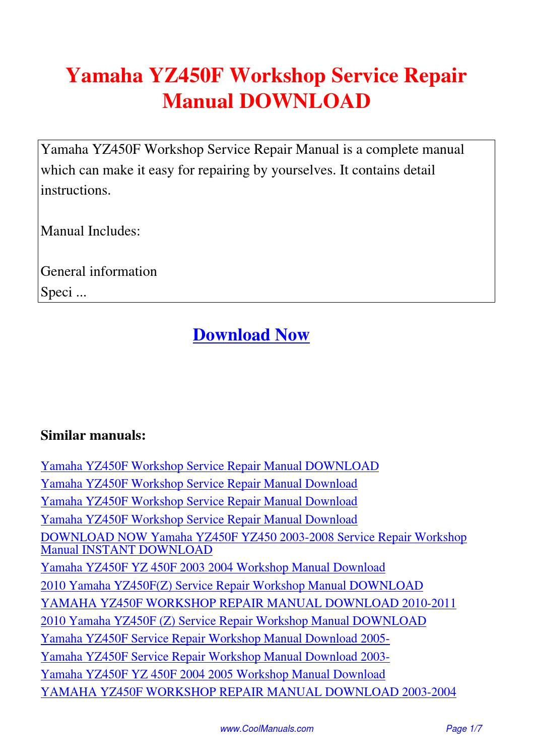 yamaha yz450f workshop service repair manual pdf by guang hui issuu rh issuu com 2004 yamaha yz450f service manual pdf 2004 Honda CRF450R