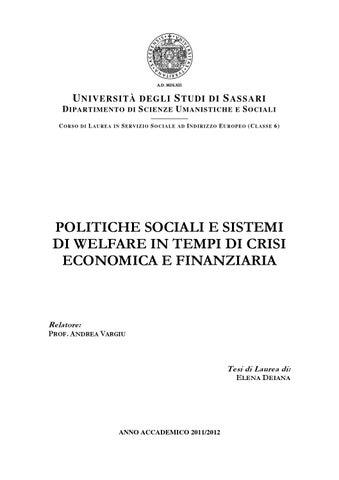 bcb31c40ce Politiche sociali e sistemi di welfare in tempi di crisi economica e ...