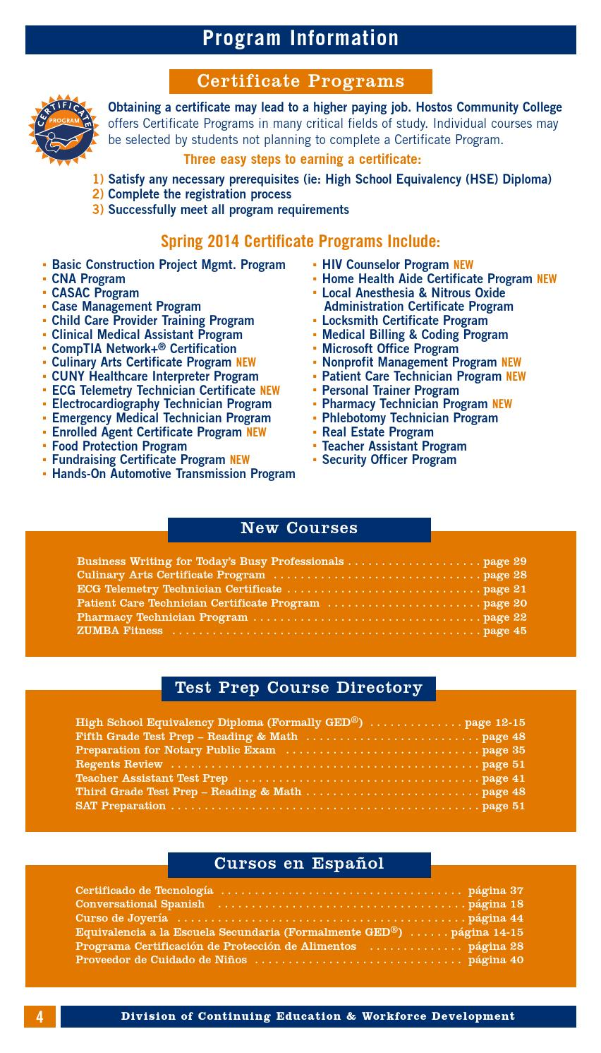 Spring 2014 Continuing Education Catalog By Hostos Community College