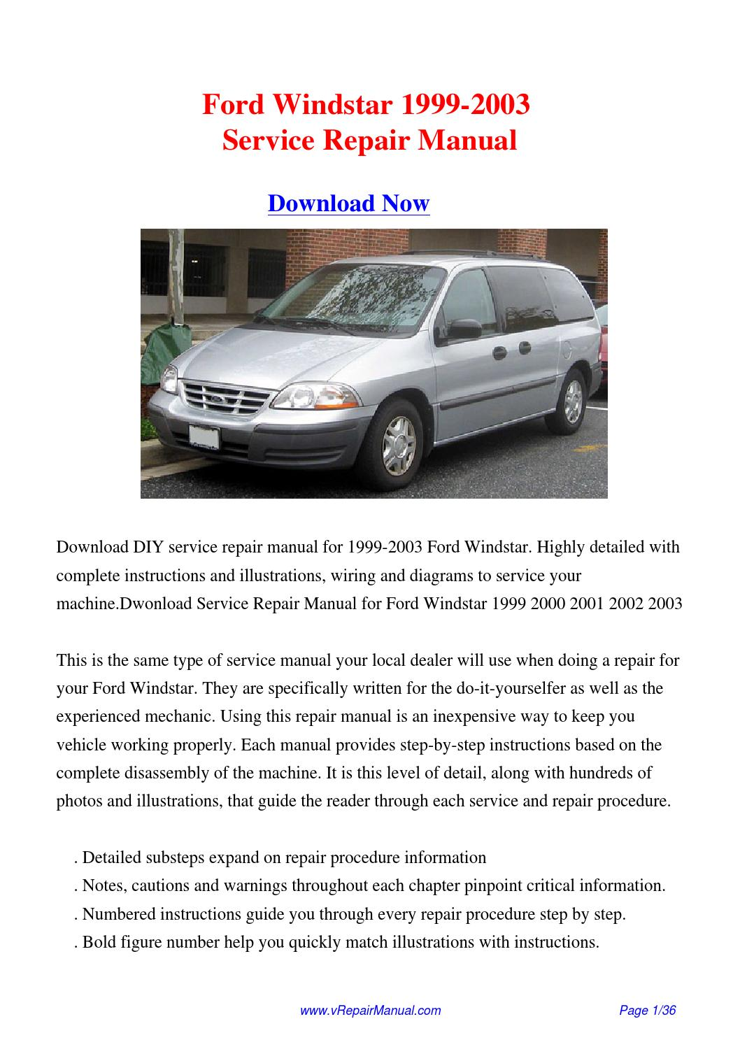 1999 2003 ford windstar service repair manual pdf by david 1998 Ford Windstar Repair Manual 2003 ford windstar repair manual