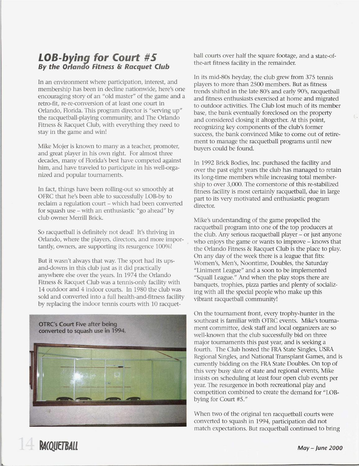 Racquetball Magazine - May/June 2000 by Jimmy Oliver - issuu