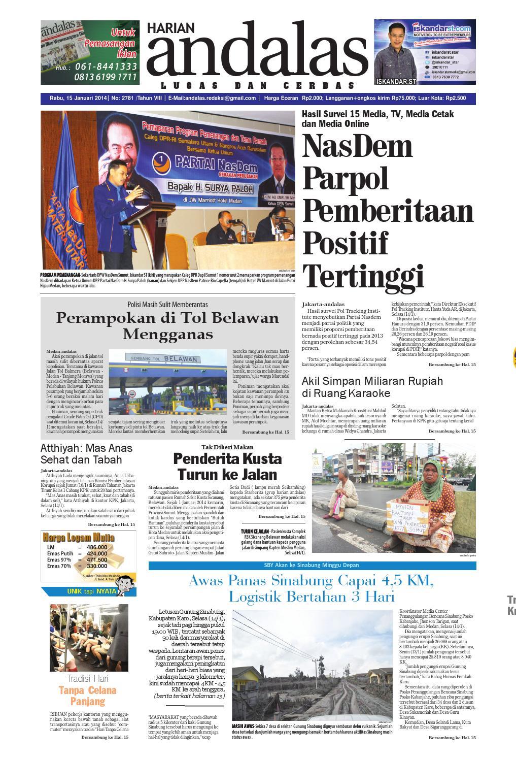 Epaper Andalas Edisi Rabu 15 Januari 2014 By Media Issuu Fcenter Lemari Pakaian Wd Hk 1802 Sh Jawa Tengah