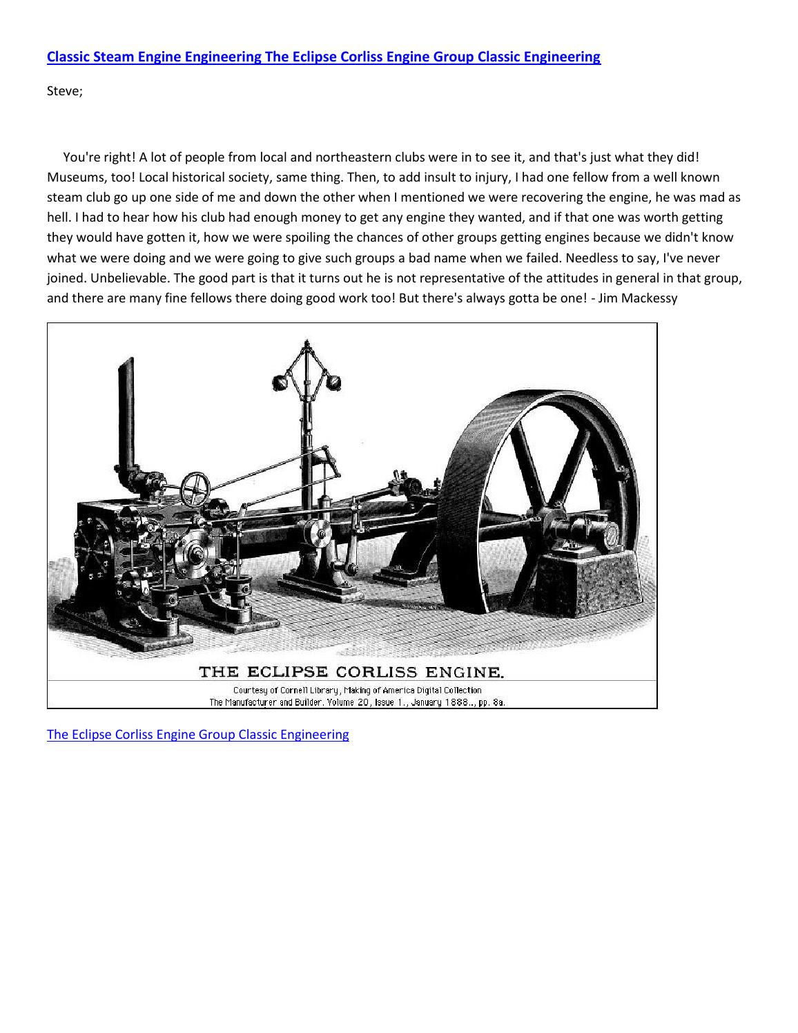 Classic steam engine engineering the eclipse corliss engine group classic  engineering by mathilderasmussen - issuu