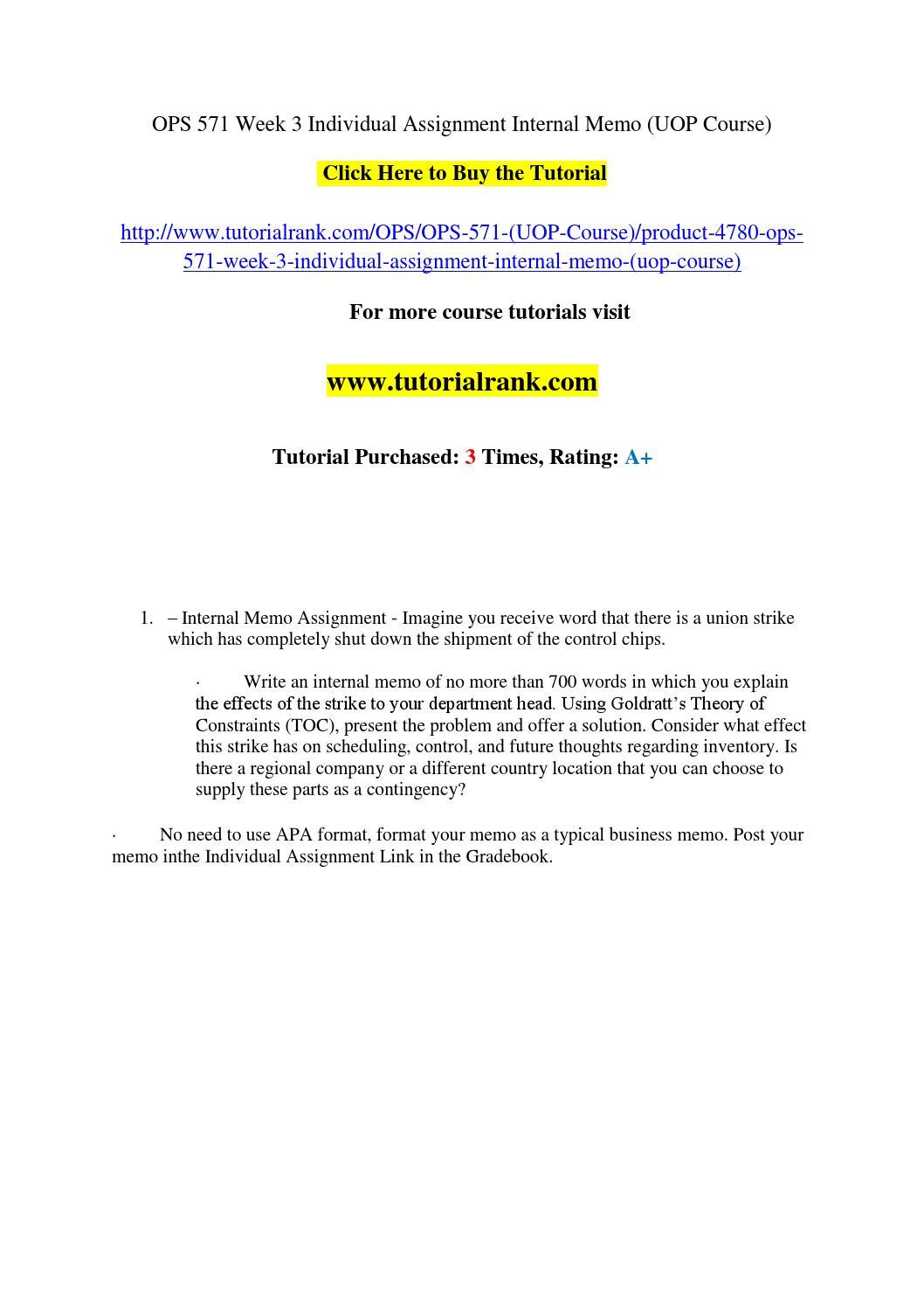 ops 571 week 3 individual assignment internal memo  uop