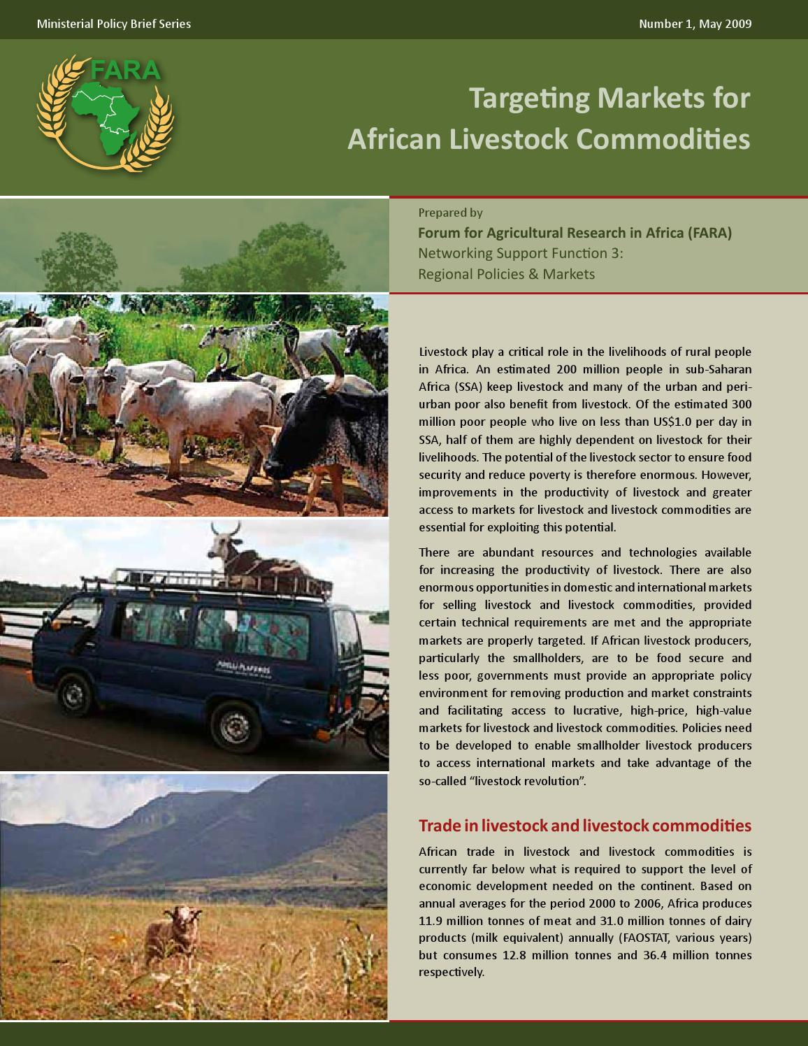 Targeting markets for african livestock commodities: Policy