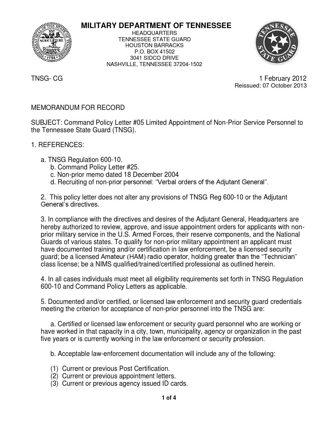 Policy Ltr 05 Non Prior Appointment Ham Security Nims By Louie