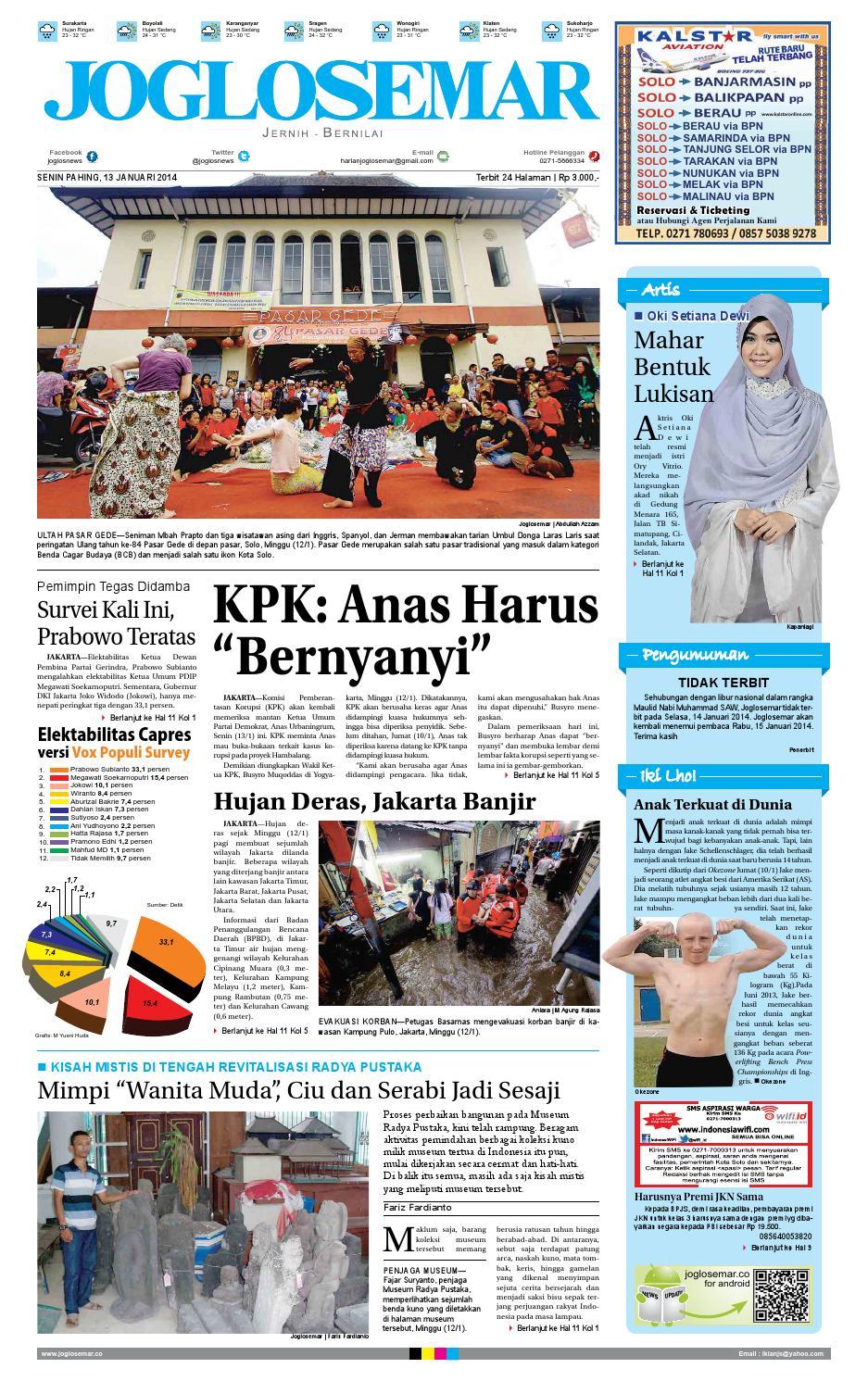 Epaper Edisi 13 Januari 2014 By PT Joglosemar Prima Media