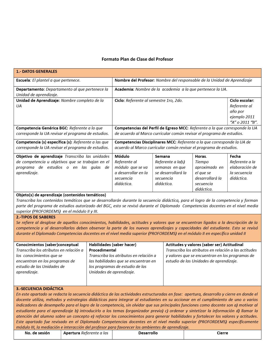 Formato de plan de clase (incluye ejemplo de planeacion) by Iván ...