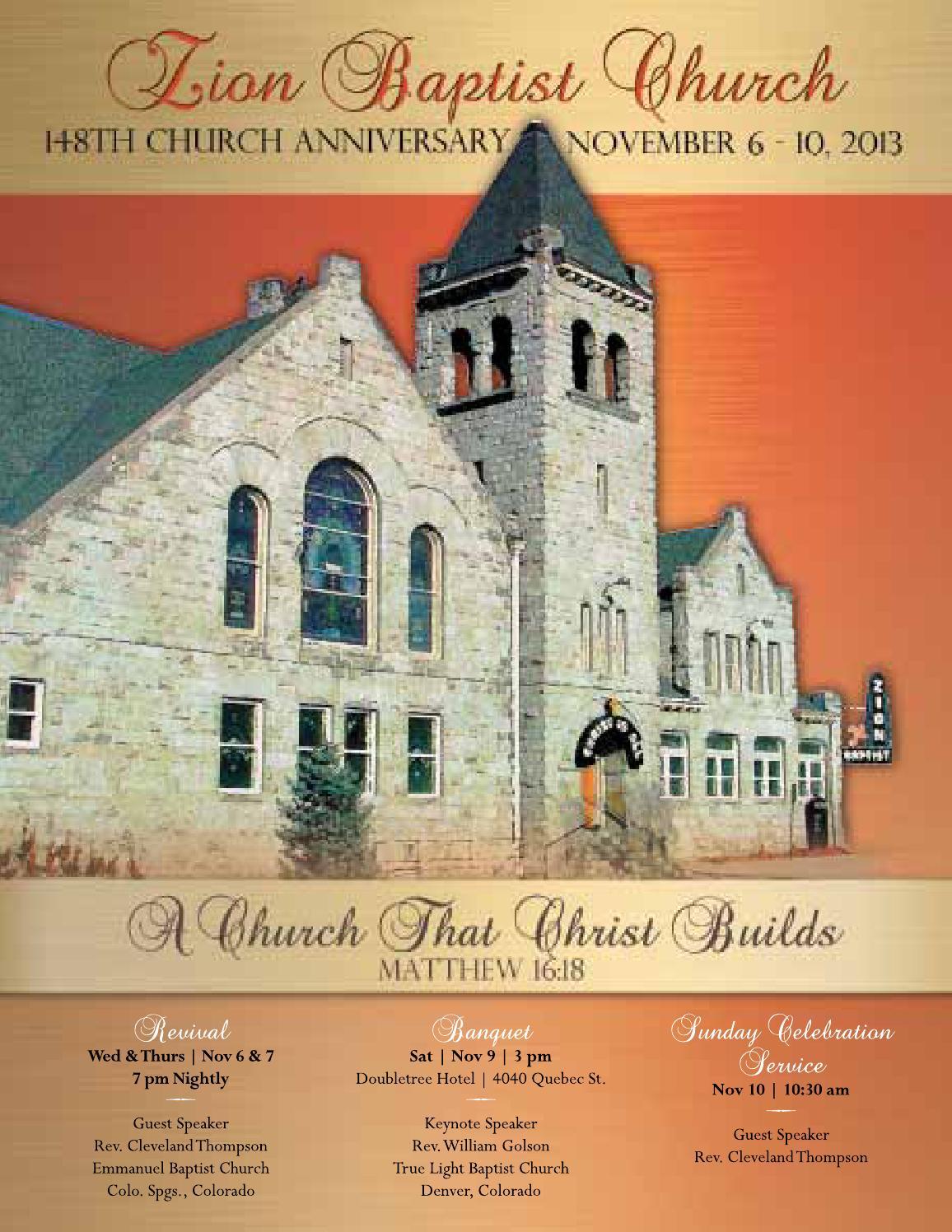 Zion Baptist Church 148th Anniversary Souvenir Book By