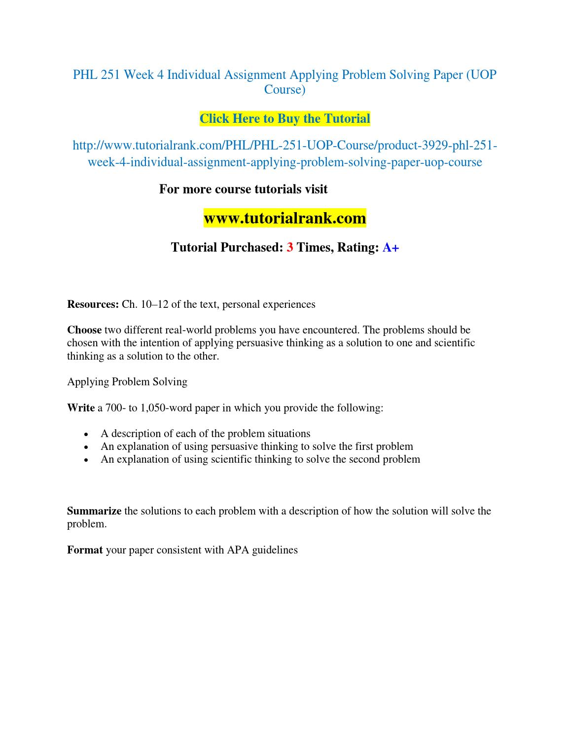 problem and solution paper