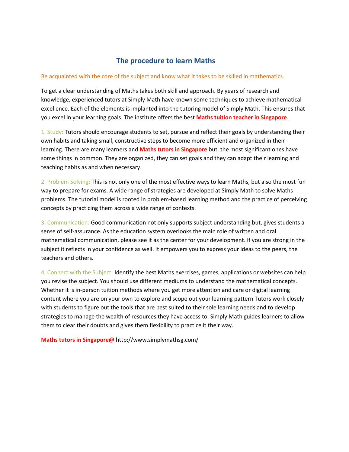 The procedure to learn Maths by John Smith - issuu