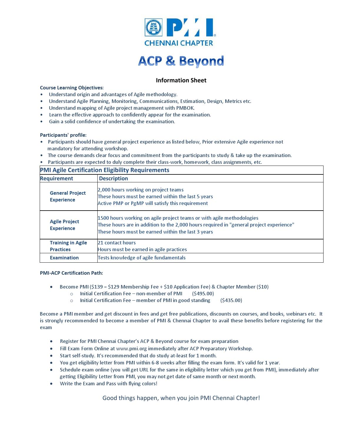 Acp beyond information sheet by pmi chennai issuu 1betcityfo Image collections