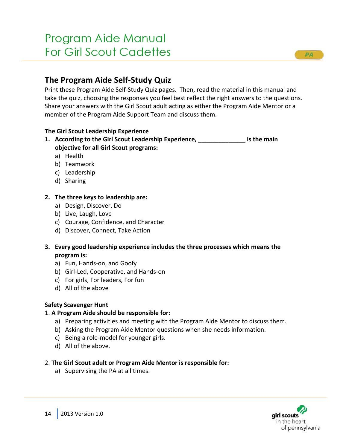 Program Aide Manual for Cadette Girl Scouts by Girl Scouts in the Heart of  PA - issuu
