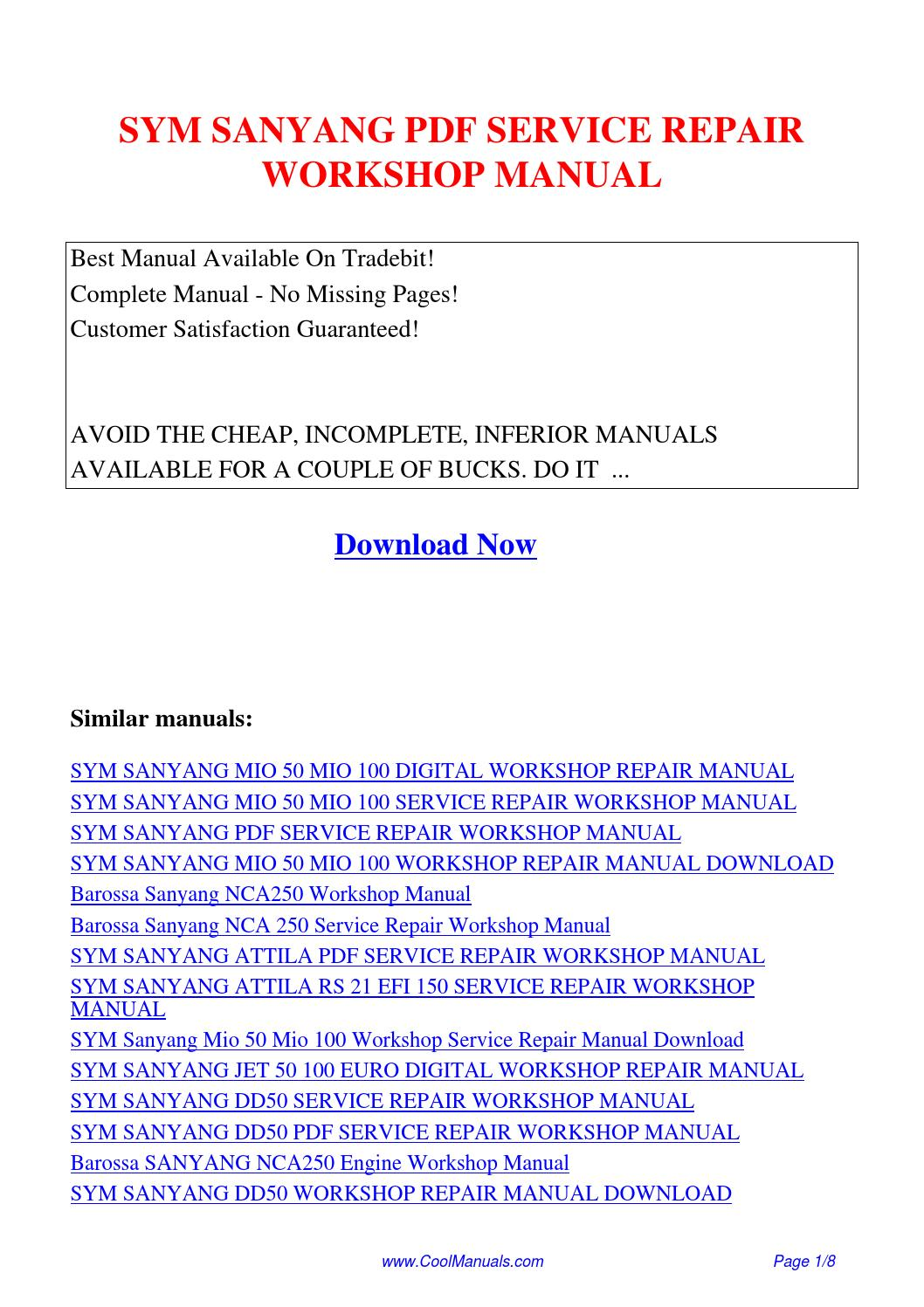 Sym Sanyang Service Repair Workshop Manual Pdf By Guang Hui Issuu