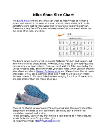 Nike Shoe Size Chart The brand Nike confirms that men can wear as many types of women's shoes, and women's can wear as many types of men's shoes, ...
