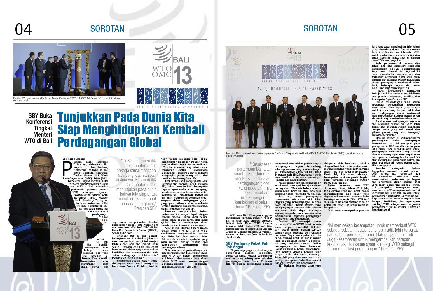 KONFERENSI TINGKAT MENTERI KE 9 WTO, BALI NUSA DUA CONVENTION CENTRE, 3-6 DESEMBER 2013