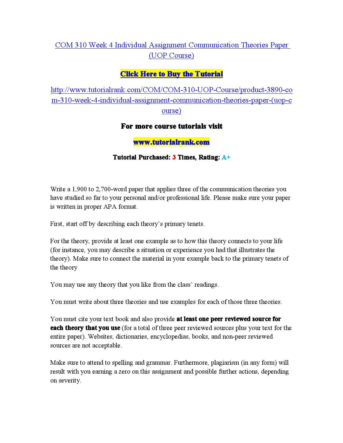 Com310 communications theory paper