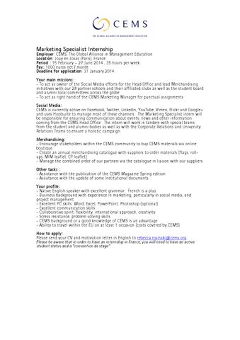 Marketing Specialist Intern Job Offer By Cems  Issuu