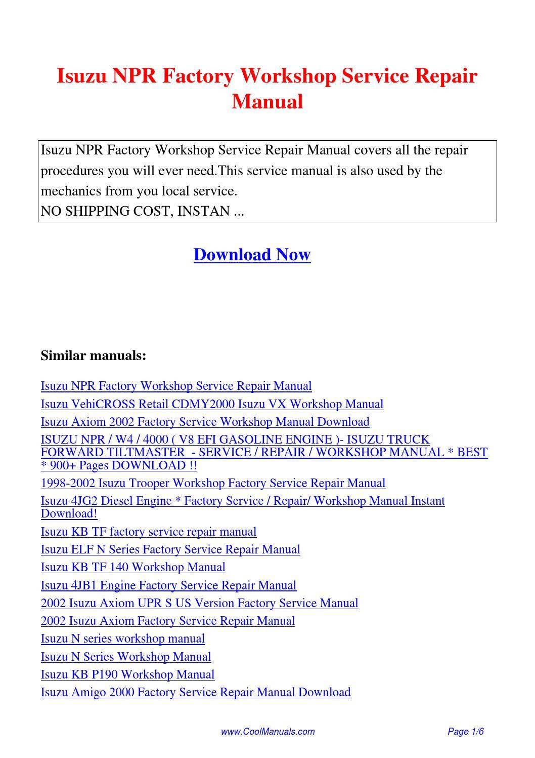 Isuzu NPR Factory Workshop Service Repair Manual.pdf by Guang Hui - issuu